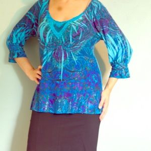 Long sleeve vibrant blue top